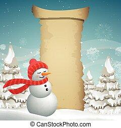 Vector Christmas Design with Snowman