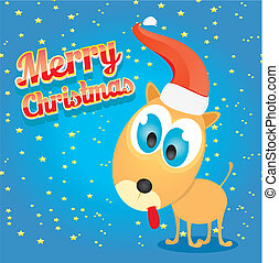vector Christmas dog in Christmas santa red hat