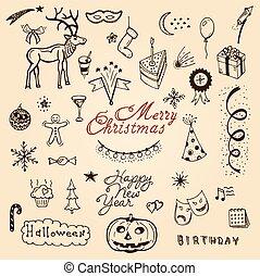 Vector christmas doodle set