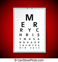 Vector Christmas eye test chart as xmas card