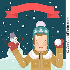 Vector Christmas flat illustration