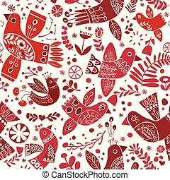 Vector christmas folk red birds seamless pattern.