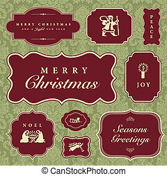 Vector Christmas Frames and Ornaments