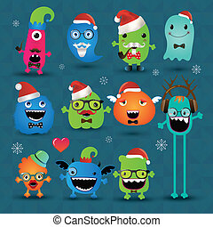 Vector Christmas Freaky Hipster Monsters Set, Funny...