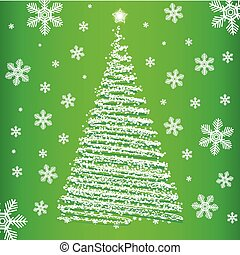 Vector christmas fur-tree on green background.