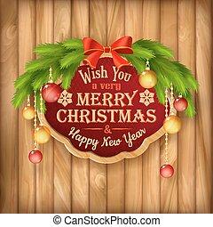 Vector Christmas garland, frame, balls background