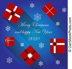 Vector christmas gifts isolated on blue background. Simple and moderne lines.