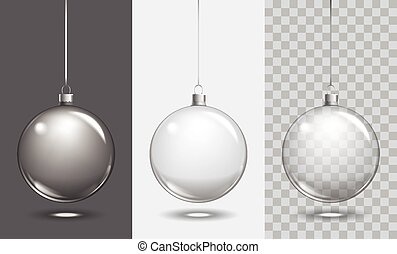 Vector christmas glass ball on transparent background. Xmas...