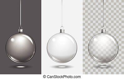 Vector christmas glass ball on transparent background. Xmas...