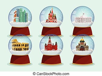 Vector Christmas Glass globe with the falling snow and architectural tourist attractions in it. St. Isaac's Cathedral, St. Basils Cathedral, Kremlin and Moscow-City .Moscow