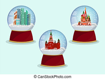 Vector Christmas Glass globe with the falling snow and St. Basils Cathedral, Kremlin and Moscow-City in it.Moscow