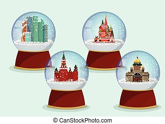 Vector Christmas Glass globe with the falling snow and St. Isaac's Cathedral, St. Basils Cathedral, Kremlin and Moscow-City in it.Moscow