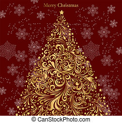 Vector christmas gold tree