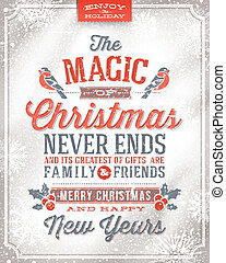 Christmas greeting card - Vector Christmas greeting card -...