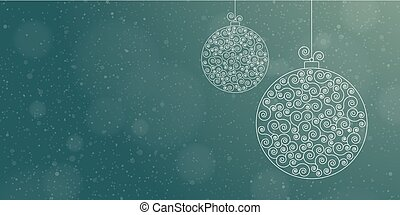 Vector Christmas greeting card template with two Christmas balls on a blue background, copy area