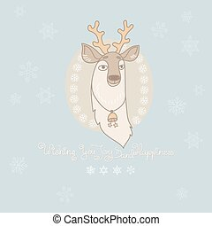 Vector Christmas greeting card with cute deer and snowflakes.