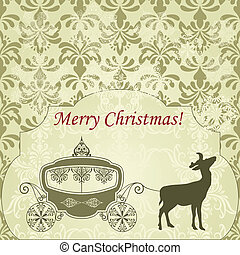 Vector Christmas  Greeting Card with Deer and Vintage Carriage
