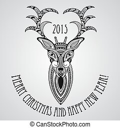 Vector Christmas Greeting Card with Deer