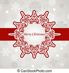 Vector Christmas Greeting Card with Snowflakes