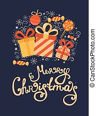Vector Christmas greeting card with gifts.