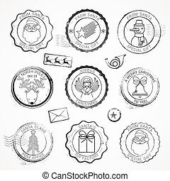 vector Christmas grunge Stamps