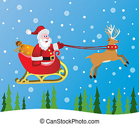 santa claus and red nosed reindeer - vector christmas ...