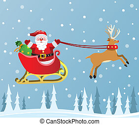 santa claus and red nosed reindeer - vector christmas...