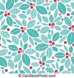 Christmas holly berries seamless pattern background - Vector...