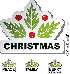 vector christmas holly leaf stickers