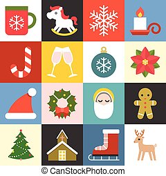Vector christmas icons set 2, flat design