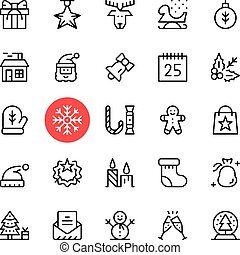 Vector Christmas icons set. Premium quality graphic design. Christmas concepts. Thin line icons set