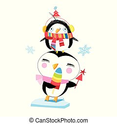Vector Christmas illustration of funny penguins on a white...