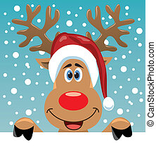 rudolph deer holding blank paper - vector christmas...