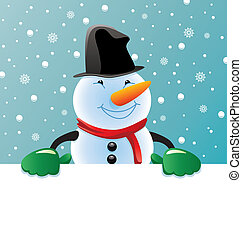 snowman holding blank paper for