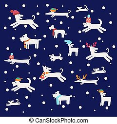 Christmas Illustration set with dogs