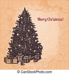 Vector Christmas illustration with hand drawn fir tree