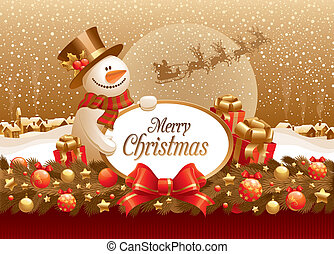 Vector christmas illustration with snowman, gift & frame for text