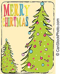 Vector Christmas illustration with typographic design and shiny holiday elements on red background. EPS 10 illustration.