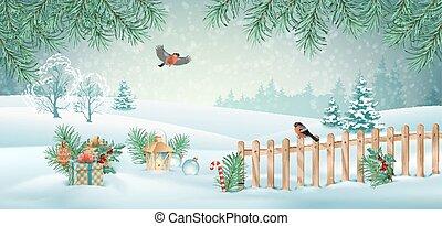Vector Christmas Landscape - Vector Christmas winter...
