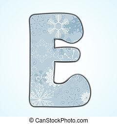 Vector Christmas letter E on blue background. Eps 10