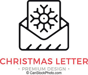 Vector Christmas letter icon. Holidays, New Year, Xmas concepts. Envelope with sheet of paper and snowflake. Modern graphic design. Outline symbol, sign, simple thin line icon