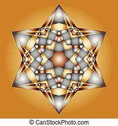 vector christmas mandala gold and silver colored hexagram...