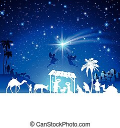 Vector Christmas Nativity Scene with kings adoration group