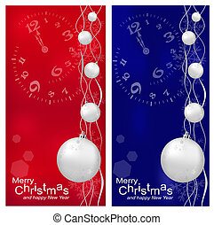 Vector Christmas, New Year's background with ball (red and darck blue)