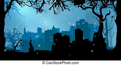 Vector Christmas New York Background
