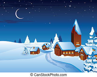 Vector Christmas Night in the Village - Vector Illustration ...