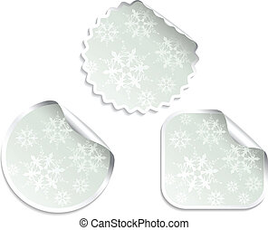 Vector Christmas offer stickers with snowflakes