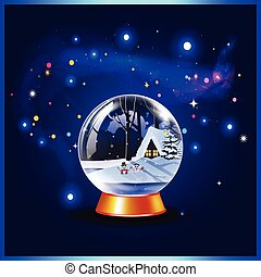 Vector christmas or new year illustration of snow crystal globe and sparkles