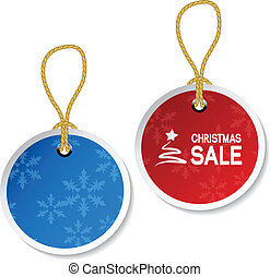 Vector Christmas ornament tags with snowflakes
