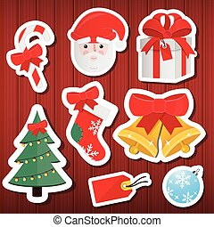 Vector Christmas Paper Icons Set Wo